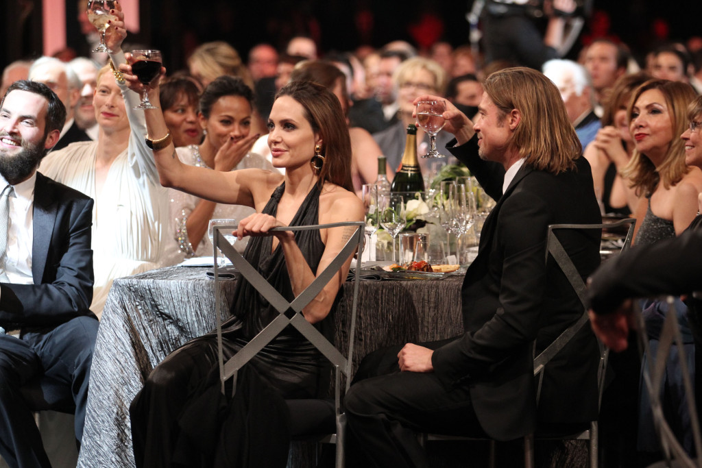 LOS ANGELES, CA - JANUARY 29: Actress Angelina Jolie (L) and actor Brad Pitt attend The 18th Annual Screen Actors Guild Awards broadcast on TNT/TBS at The Shrine Auditorium on January 29, 2012 in Los Angeles, California. (Photo by Christopher Polk/WireImage) 22005_008_CP_1324.JPG